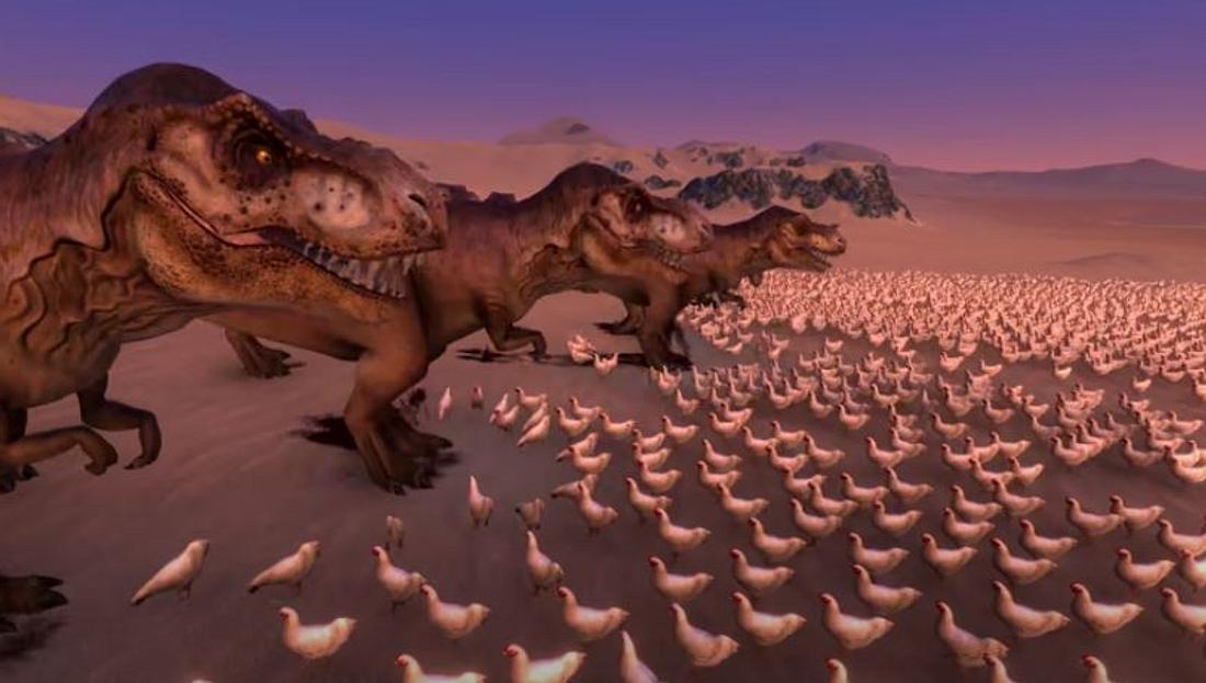 1.000 T-Rex vs 80.000 Hühner