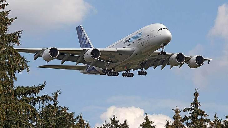 Der Airbus A380 bei einem Testflug
