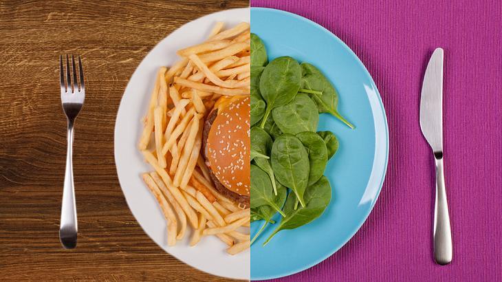 Salat versus Burger und Pommes