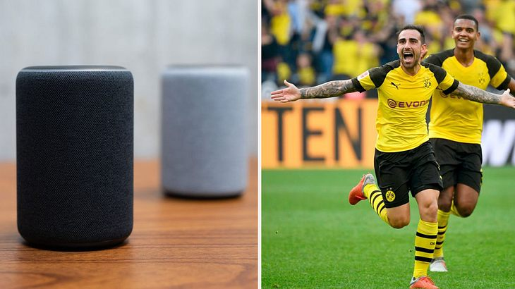 Alexa meets Bundesliga-Fußball (Collage)