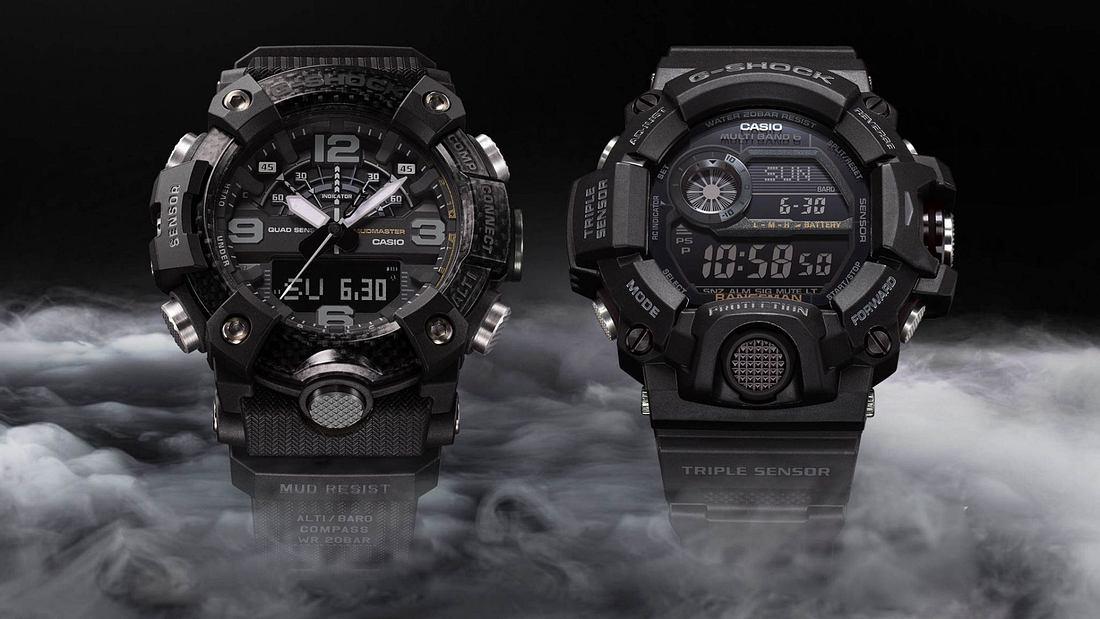 Zwei Uhren-Modelle von G-SHOCK ganz in Schwarz