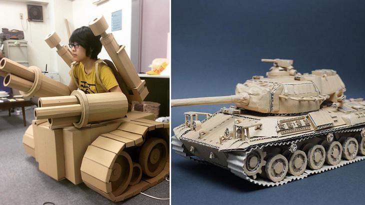 Japanische Papp-Künstlerin baut aus Amazon-Kartons Kunst