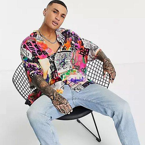 Oversized-Hemd mit Reverskragen und buntem Neon-Print