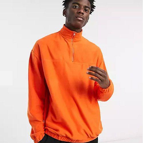 Oversize-Sweatshirt aus Polarfleece mit kurzem Reißverschluss in leuchtendem Orange