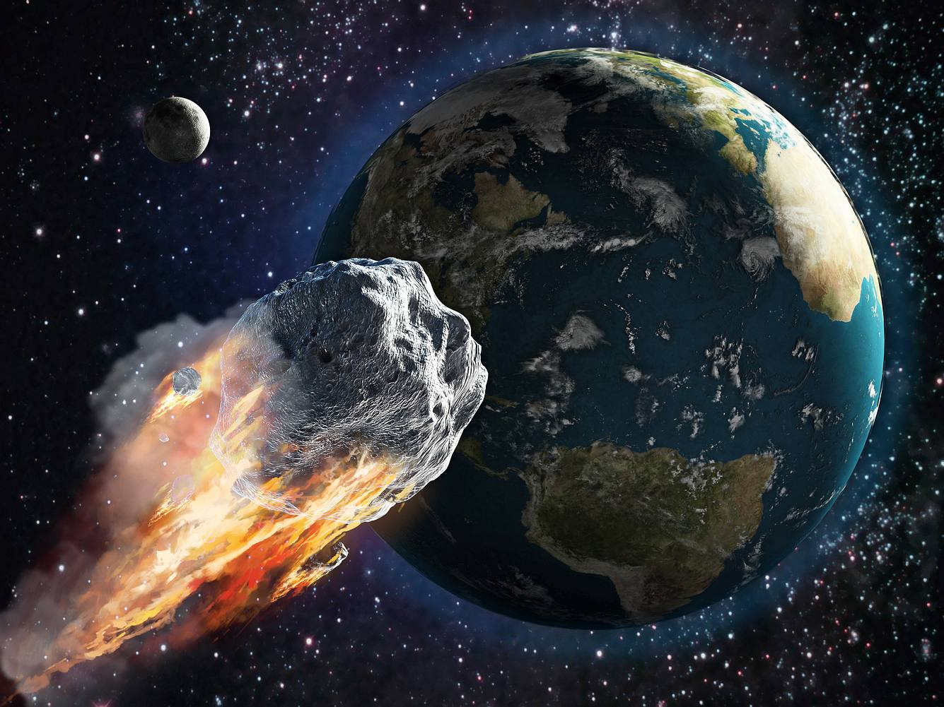 Asteroid, der auf die Erde zusteuert
