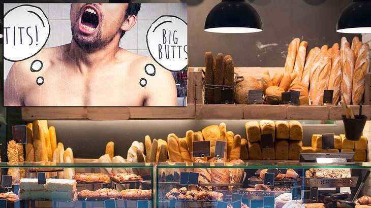 Ein Mann onaniert beim Bäcker