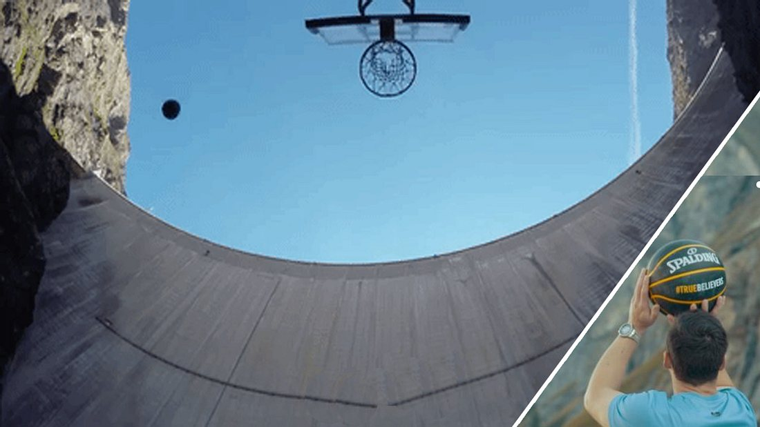 Volltreffer! Er wirft einen Basketball von einem Staudamm 180 Meter hinunter