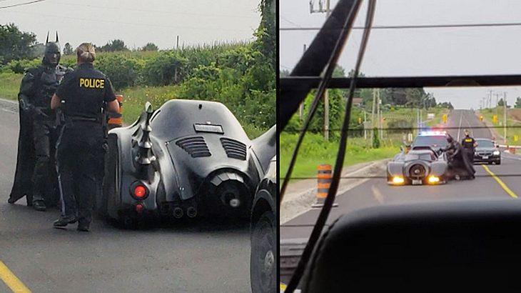 Batman in einer Verkehrskontrolle