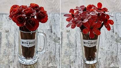 Die Firma hat Say It With Beef hat Rosen und Gänseblümchen aus Beef Jerky entwickelt - Foto: Say It With Beef