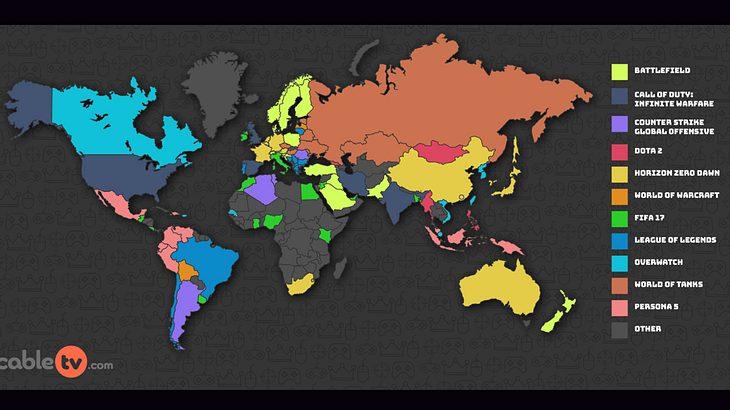 Die beliebtesten Videogames der Welt als Grafik