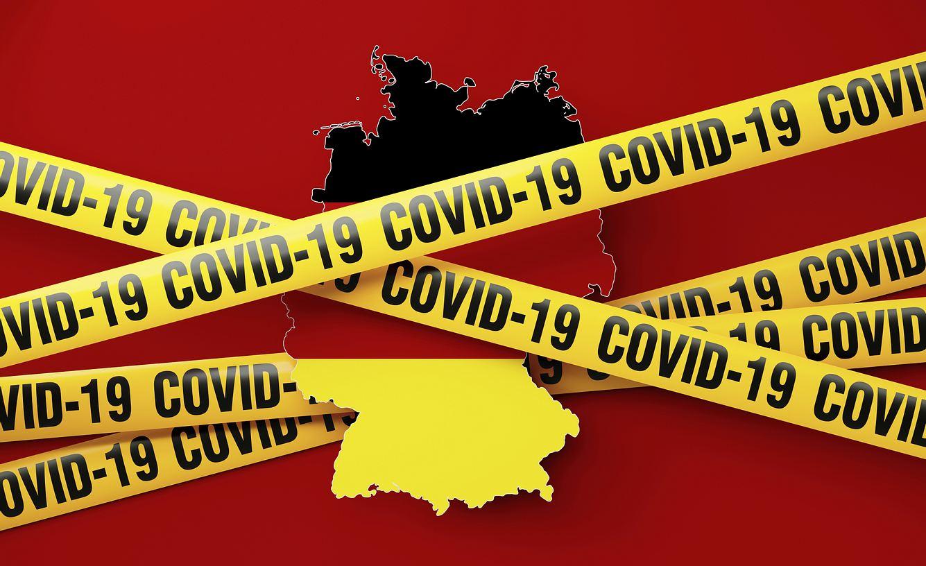 Deutschlandkarte mit Corona-Warnband