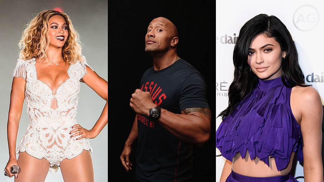 Beyoncé, Dwayne Johnson und Kylie Jenner
