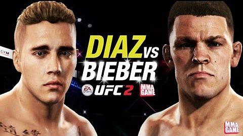 UFC-Simulation von EA Sports: Justin Bieber vs. Nate Diaz - Foto: EA Sports / YouTube /  MMAGAME