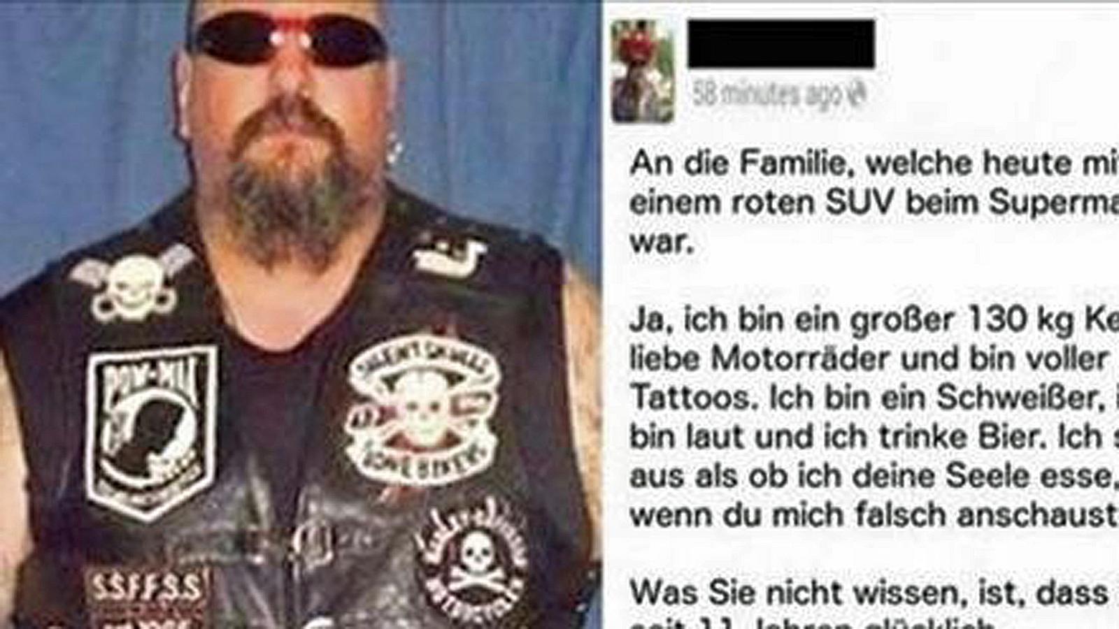 """Eine Frau nennt ihn vor ihrer Tochter """"dreckiger Biker"""". Seine Antwort ist perfekt"""
