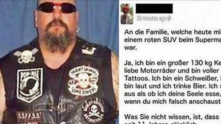 Biker Luc Perreault reagierte mit einem emotionalen Facebook-Posting auf die Beleidigung der Mutter eines jungen Mädchens