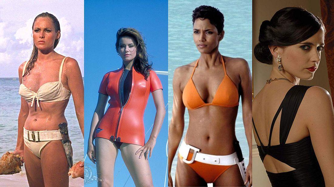 Bond-Girls Ursula Andress, Claudine Auger, Halle Berry und Eva Green (v.l.n.r.)