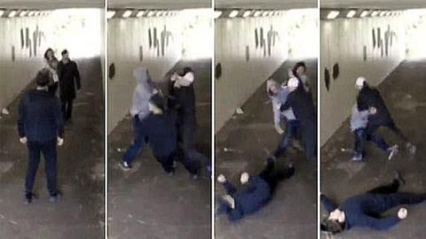 Zwei Schläger bewerfen Frau mit Kippe. Ihr Freund reagiert brutal
