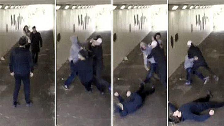 Zwei Schläger attackieren die Freundin eines Boxers in einem Tunnel