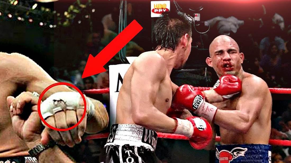 Profi-Boxer Antonio Margarito versteckt Steine in seinen Handschuhen, um WBO-Champ Miguel Cotto besiegen zu können
