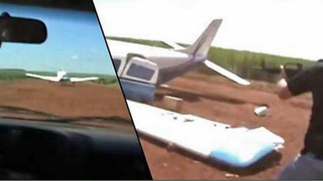 Die brasilianische Polizei rammt das Flugzeug von Drogenschmugglern und nimmt den Piloten fest