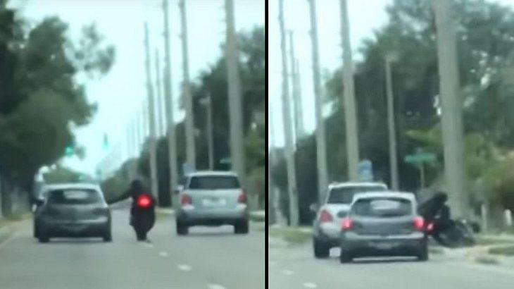Fahrerflucht: Streit zwischen Auto- und Motorradfahrer eskaliert brutal