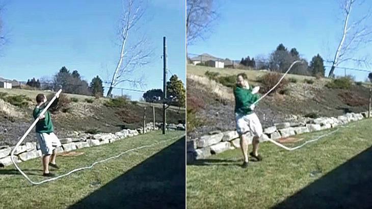 YouTuber Bryan Ropar verletzt sich mit einer 25-Meter-Peitsche