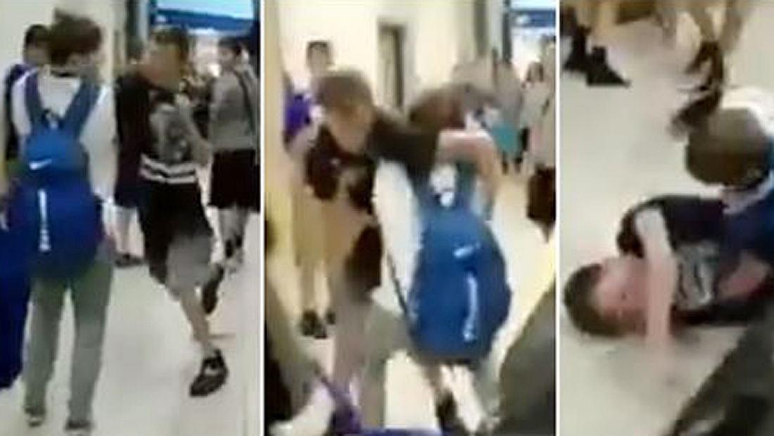Ein Schulschläger attackiert einen kleineren Jungen und wird ausgeknockt