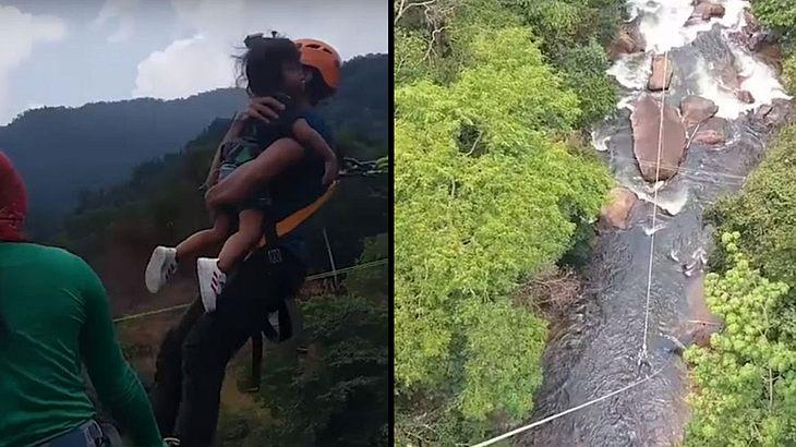 Psycho-Dad: Mann riskiert Leben seiner kleinen Tochter bei Bungee-Sprung