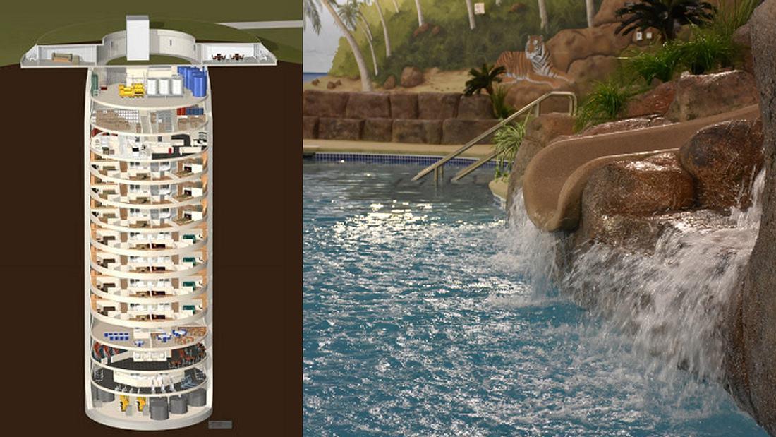 Privater Bunker mit 15 Stockwerken - Schwimmbad gehört dazu