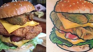 Dieses Burger-Restaurant bietet Kunden, die sich ein Burger-Tattoos stechen lassen, Gratis-Burger für den Rest ihres Lebens an - Foto: Instagram/BurgerLove_Aus