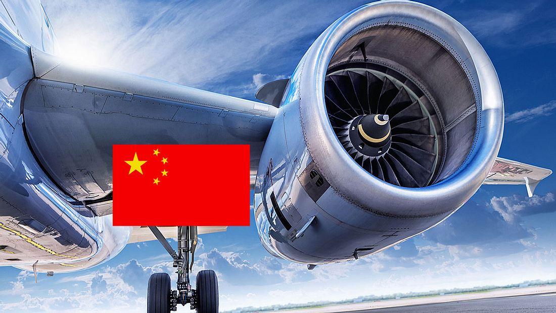 Chinese wirf Münze in Flugzeugturbine (Symbolfoto).