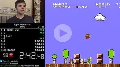 Speedgamer und YouTuber Darbian hat einen unfassbaren Weltrekord in Super Mario Bros aufgestellt - Foto: YouTube/Darbian