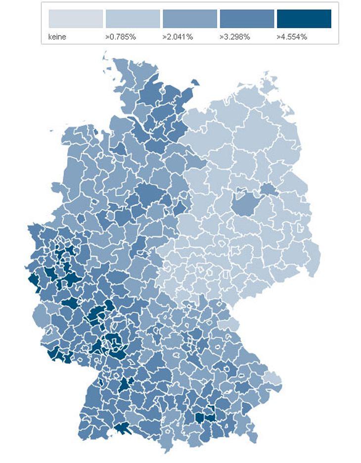 Die Cabrio-Dichte in Deutschland