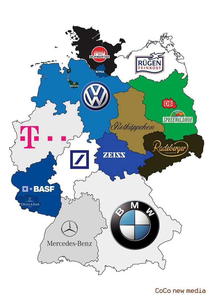 Deutschlands Bundesländer und deren beliebtesten Marken