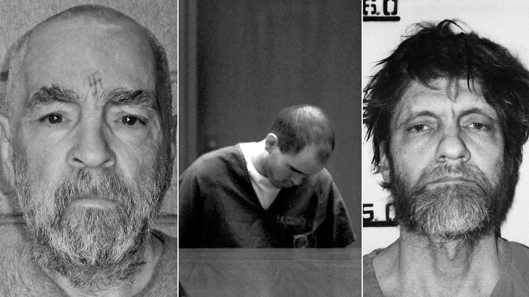 Charles Manson, Robert John Bardo, Theodore Kaczynski  - Foto: Getty Images/Handout, imago images / ZUMA Press, imago images / Aurora Photos