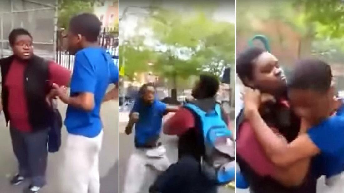 Ein dickes Kind mit Brille verprügelt einen Schulschläger