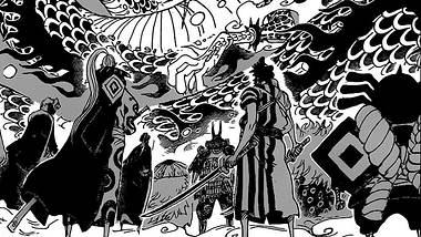 Die Roten Schwertscheiden gegen Kaido - Foto: Shonen Jump / Eiichiro Oda