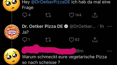 Dr Oetker Twitter-Diss - Foto: Twitter / Dr. Oetker Pizza DE