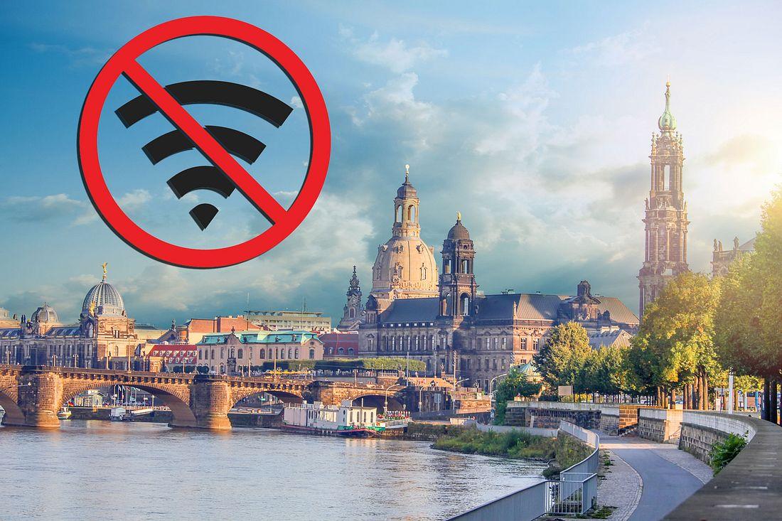Stadtbild Dresden mit Offline-Symbol