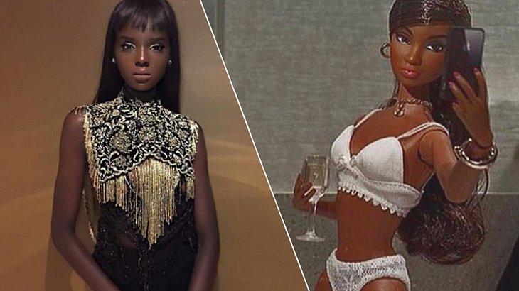 Model Duckie Thot sieht exakt aus wie eine Barbie-Puppe