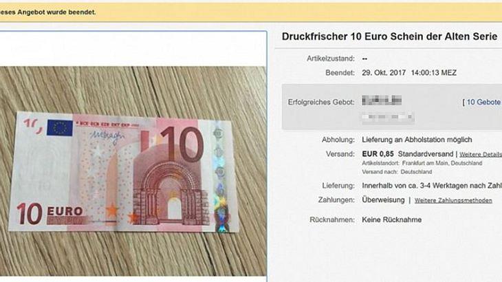 eBay-Knaller: 10-Euro-Schein für 9,35 Euro versteigert