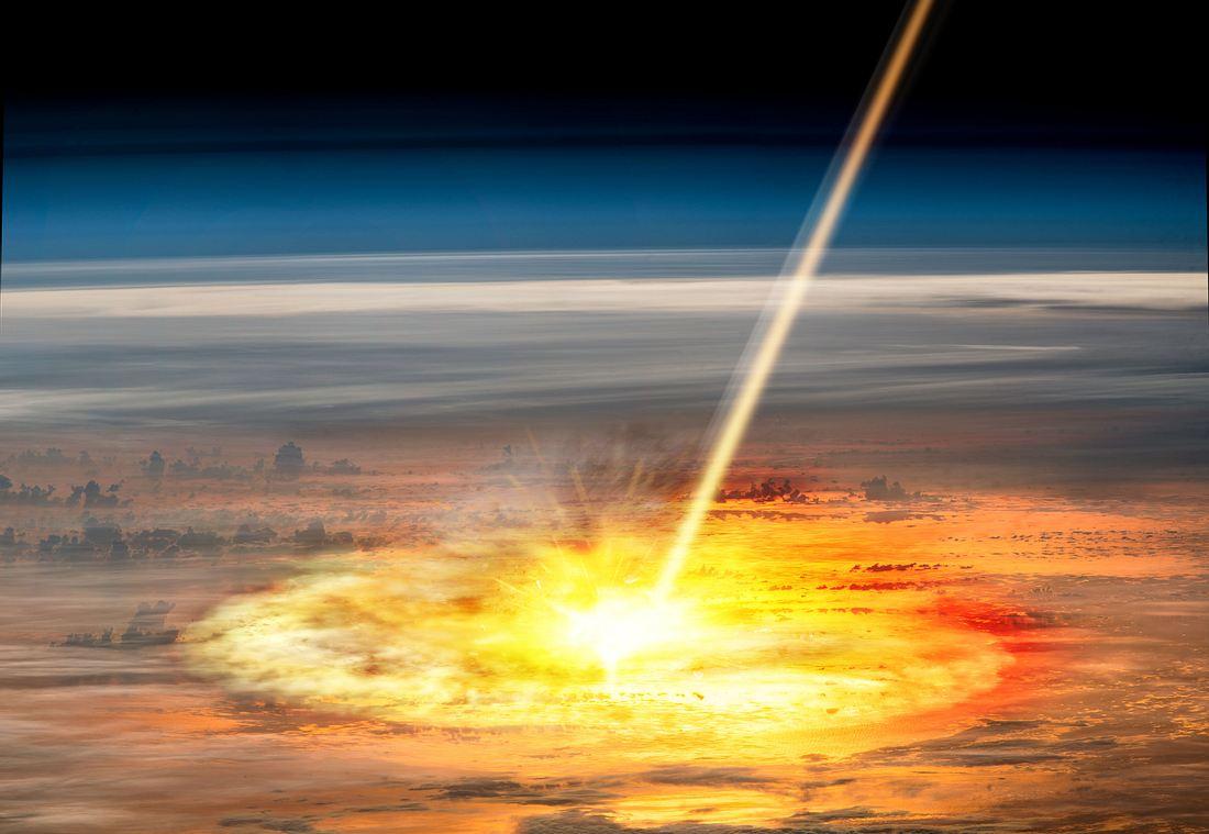 Einschlag eines Meteors (künstlerische Darstellung)