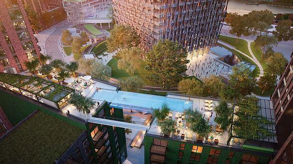 Der Pool, der zwei Hochhäuser verbindet - Foto: Embassy Gardens
