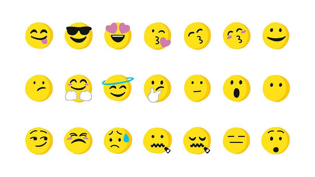 Eine Auswahl an Emojis