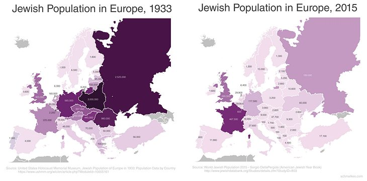 Jüdische Bevölkerung im Vergleich 1933 und 2015