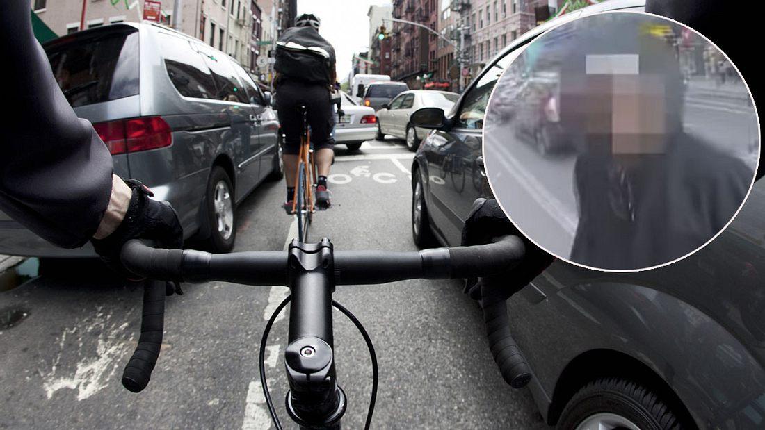 Fahrradfahrer hat Schnauze voll vom Berufsverkehr (Symbolfoto/Collage)