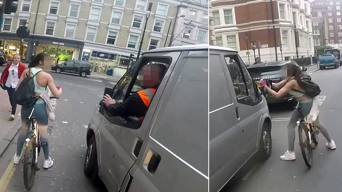 Ein Fahrradfahrerin rächt sich an einem aufdringlichen Van-Fahrer