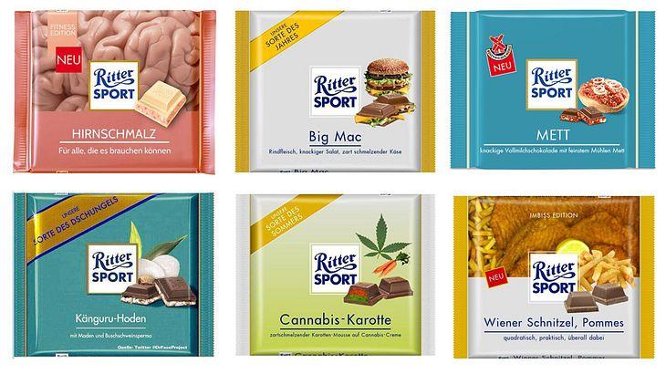 Cannabis, Mett, Burger: Die besten Fake-Ritter-Sport-Sorten