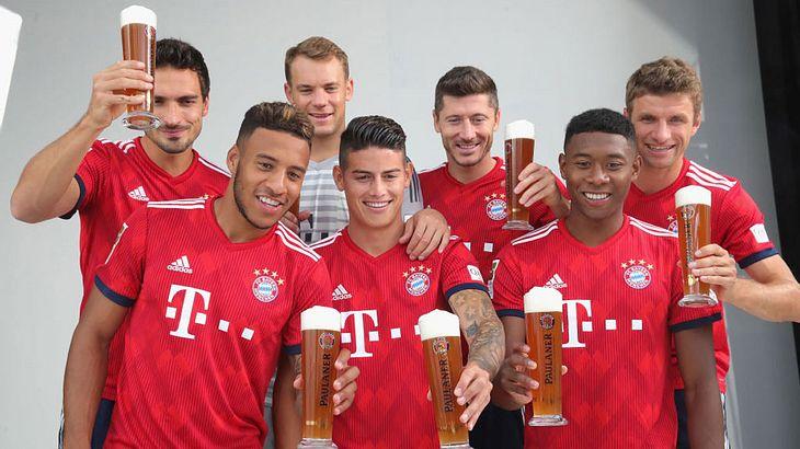 Da haben die Spieler des FC Bayern München gut lachen
