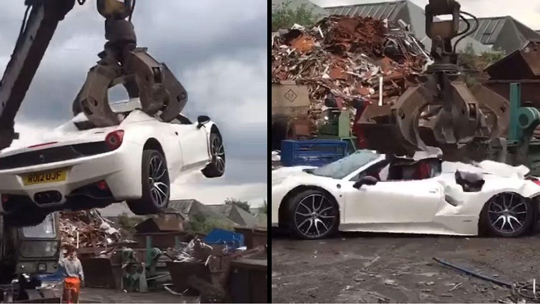 Dieser Ferrari 458 wurde von der Polizei verschrottet